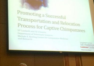 "Susan Lambeth of MD Anderson Cancer Center presenting ""Promoting a Successful Transportation and Relocation Process for Captive Chimapanzees"