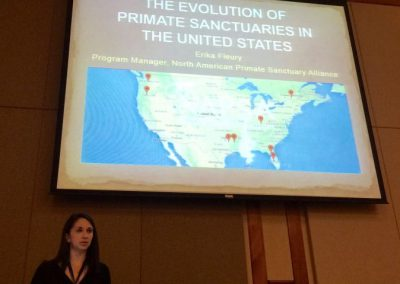 "Erika Fleury of NAPSA spoke about ""The Evolution of Primate Sanctuaries in the United States."""