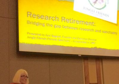 "Kari Bagnall of Jungle Friends presented ""Research Retirement: Bridging the Gap"""