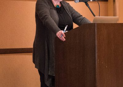 "Karen Emmerman speaks during ""Emptying the Cages"""