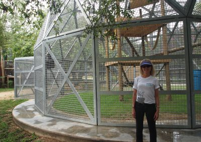 Priscilla Feral and an enclosure at Primarily Primates