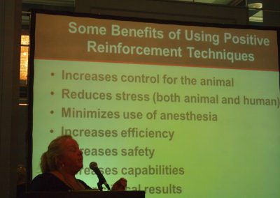 Susan Pavonetti of M.D. Anderson spoke on Positive Reinforcement Training