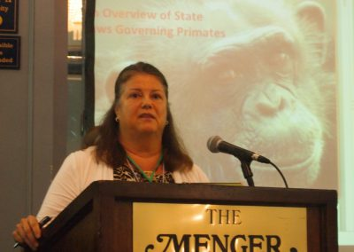 April Truitt of Primate Rescue Center spoke about laws governing primates