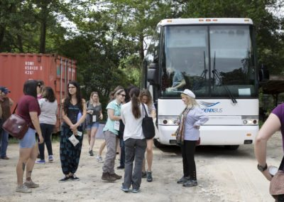 The tour group arrives at Jungle Friends Primate Sanctuary