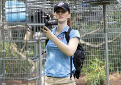 A journalist filming the tour of Jungle Friends Primate Sanctuary
