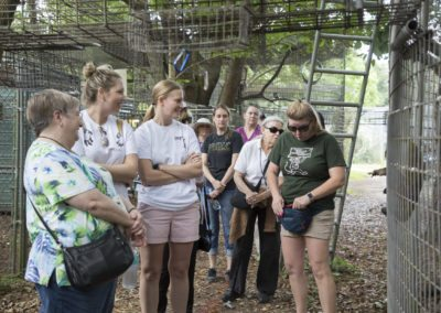 Elizabeth Fried leads a tour at Jungle Friends Primate Sanctuary