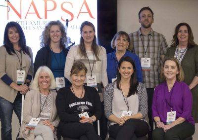 The NAPSA 2018 Steering Committee (L-R top row: Marla Meyer, Ali Crumpacker, Eileen Dunnington, Patti Ragan, JB Mulcahy, Rana Smith. Bottom row: Kari Bagnall, Gloria Grow, Erika Fleury, Noelle Almrud)