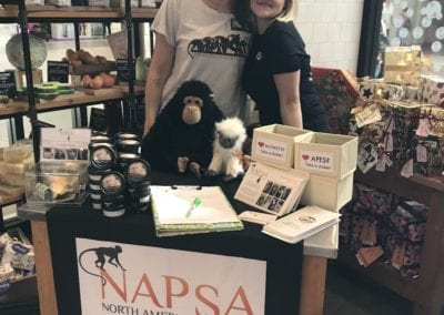 The store's Charity Pot Star, Crystal, ensured Lush staff were well-educated about NAPSA and primate sanctuary facts. She helped direct people to our table so they could meet Erika and learn more.